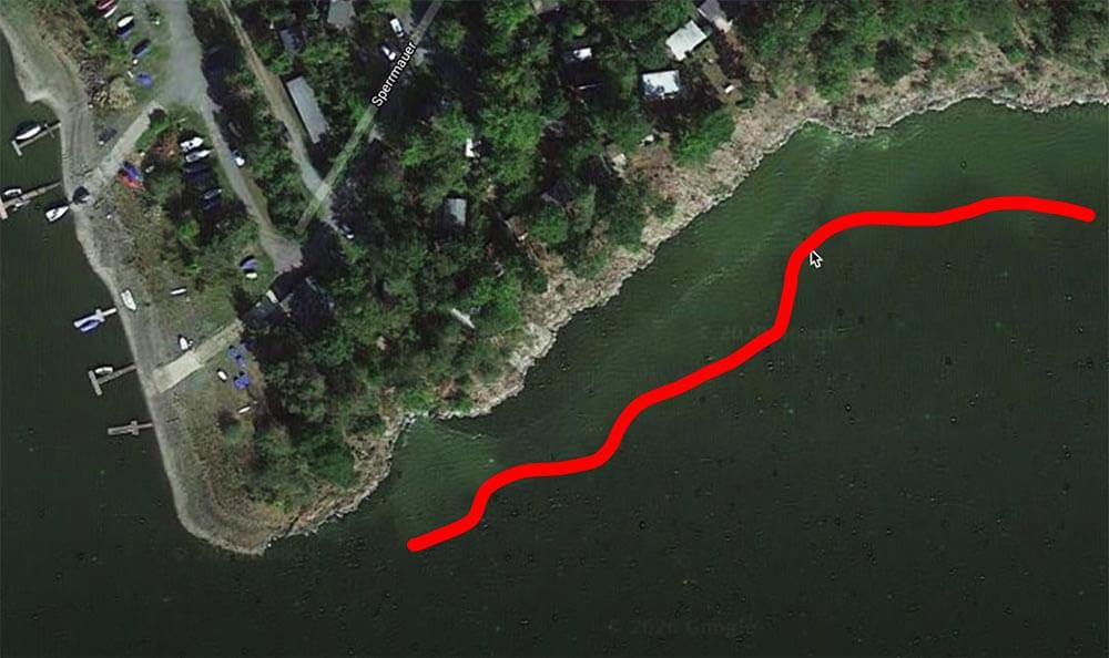 Uferkante Zanderangeln vom Ufer